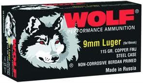 Wolf 919FMJ HANDGUN 9mm Full Metal Jacket 115 GR 500 Rounds