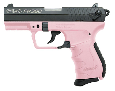 """Walther PK380 Semi-automatic Double Action Compact 380ACP 3.6"""" Polymer Blue/Pink 8Rd"""