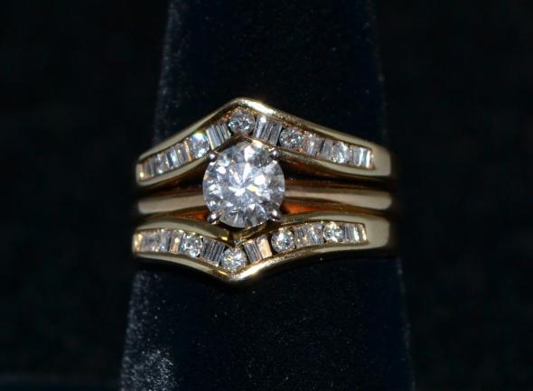 1 1/2 cttw Diamond Wedding Set in 14K Yellow Gold