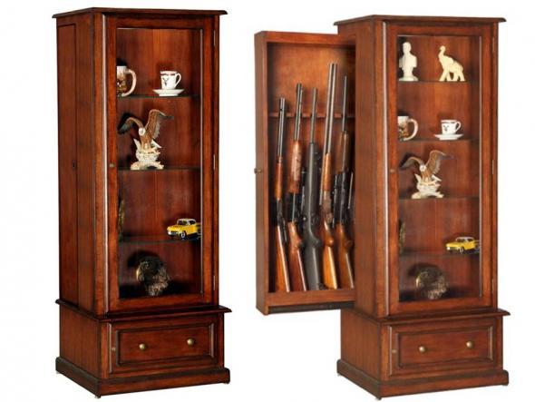 Model   610 Wood Hidden 10 Gun Cabinet Fully Assembled