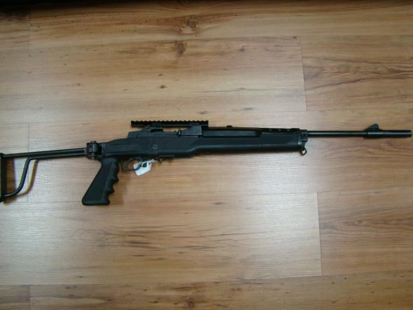 RUGER MINI 14, .223 W/FOLDING STOCK,SCOPE RAIL AND FACTORY FLASH SUPPRESOR
