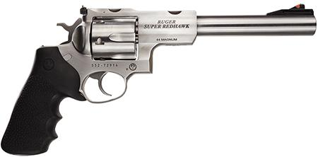 "Ruger Super Redhawk Standard 44 RemMag 7.5"" 6 Round Black Hogue Tamer Grip SS"