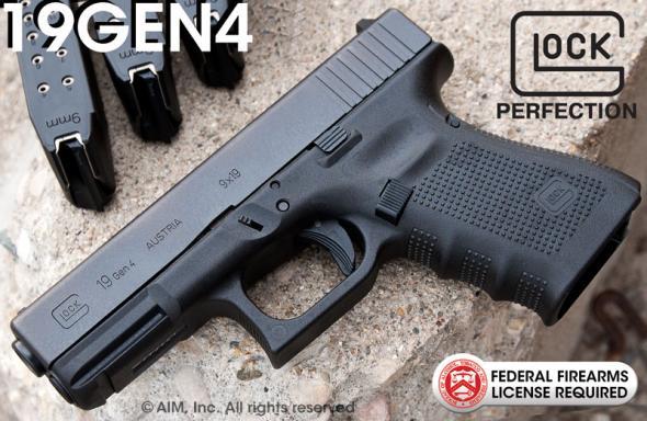 Glock Gen4 Glock 19 9mm 4 Inch Barrel Tenifer Finish Fixed Sights 15 Round