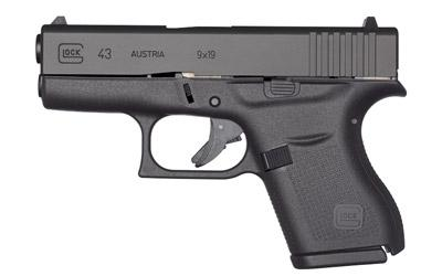 "Glock, 43, Semi-automatic Pistol, Double Action Only, Sub-Compact, 9MM, 3.25"" Barrel, Polymer Frame, MatteFinish, 6Rd, Fixed Sights, 1-Extended Mag, 1-Flat Bottomed Mag, Magazine Loader"