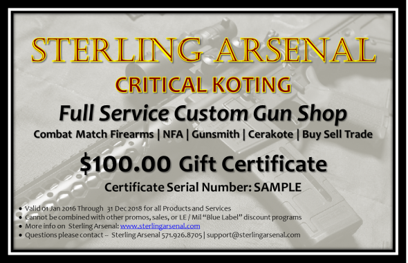 Sterling Arsenal Gift Certificate