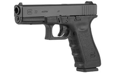 "Glock, 22, Double Action Only, 40S&W, 4.49"" Barrel, Polymer Frame, Matte Finish, Fixed Sights, 10Rd, Glock OEM Rail, Right Hand"