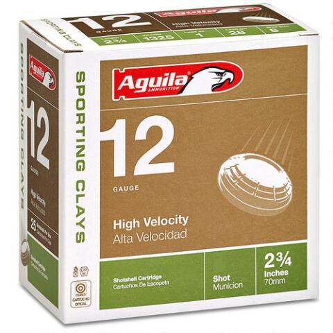 """Aguila Sporting Clays High Velocity 12 Gauge #7.5 Lead Shot, 2-3/4"""", 1-1/8 Ounce, 1325 fps"""