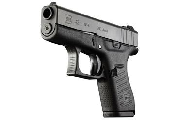 "Glock, 42, Semi-automatic Pistol, Double Action Only, Compact, 380ACP, 3.25"" Barrel, Polymer Frame, Matte Finish, 6Rd, 2 Mags, Fixed Sights"
