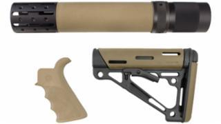 Hogue Over Molded Ar 15 Furniture Kit Rifle Length Forend Beavertail Pistol Grip Collapsible Stock Desert Tan 15378