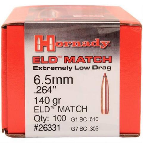Hornady 6 5mm Bullets 140 Grains, Boat Tail, ELD Match, Per 100 26331
