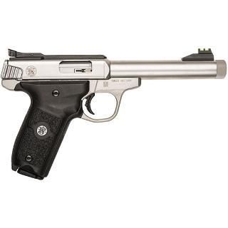 """Smith & Wesson, Victory, Semi-automatic, 22LR, 5.5"""" Barrel, Stainless Steel, Polymer Grip, 10Rd, Threaded Barrel, Adjustable Fiber Optic Sights"""