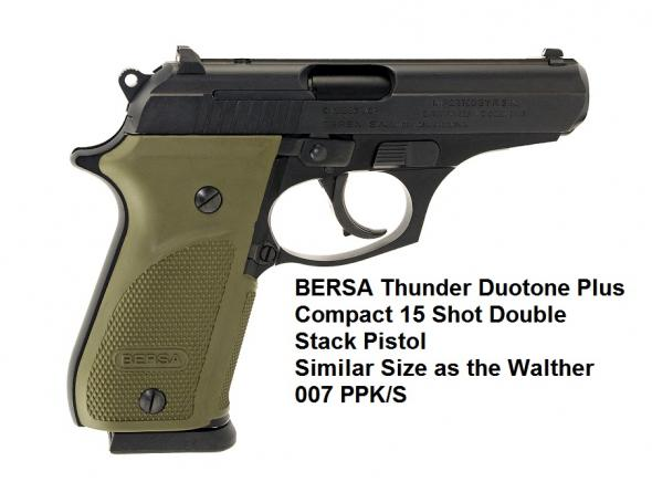 Bersa EAG 15 Shot Thunder Combat Plus .380 ACP 3.5 Inch Barrel Matte Black Finish with Olive Grips 15 Round