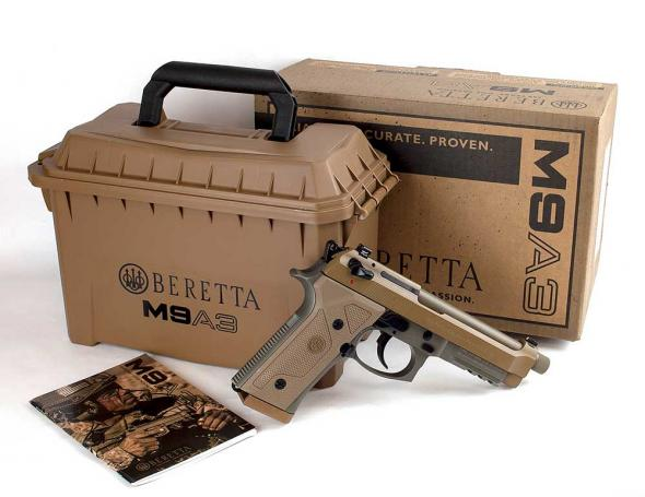 BERETTA 92A3 9mm 4.9 Inch Extended Threaded Barrel 1/2x28 Threads Over Center Safety Lever Three Slot Picatinny Rail Flat Dark Earth Finish 3 Magazines 17 Round