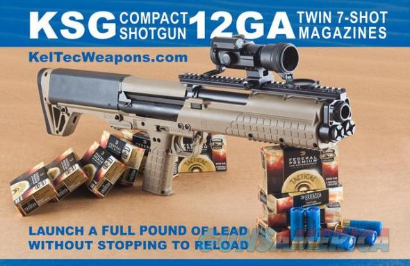 KSG Desert Tan Kel Tec Shotgun 12 Gauge 18.5 Inch Barrel 2.75 Inch Chamber Picatinny Rails Dual Magazine Tubes 14 Rounds