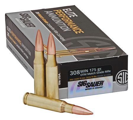 Sig Sauer, Elite Match  308 Winchester 175 Grain Sierra MatchKing Open Tip  Match