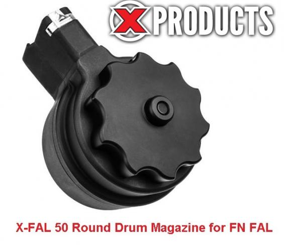 X Products FN FAL Metric 50 Round Drum Magazine .308 Winchester/7.62 NATO Aluminum/Steel Black Finish X-FAL