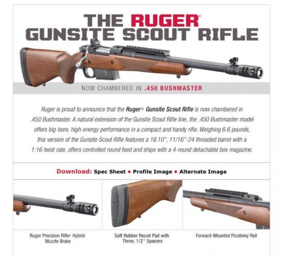 Walsh Gun and Tackle | RUGER M77 GUNSITE SCOUT 450