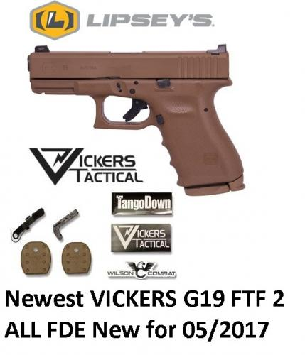 Newest Glock 19 RTF 2 9mm VICKERS All FDE Lipseys Limited Editon