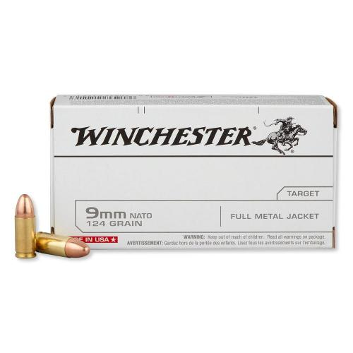Winchester Ammo Q4318 USA 9mm Full Metal Jacket 124 GR 50Box/10Case