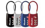 MasterLock Flexible Shackle Lock Assorted Blue/Red/Silver/Black Single Combination