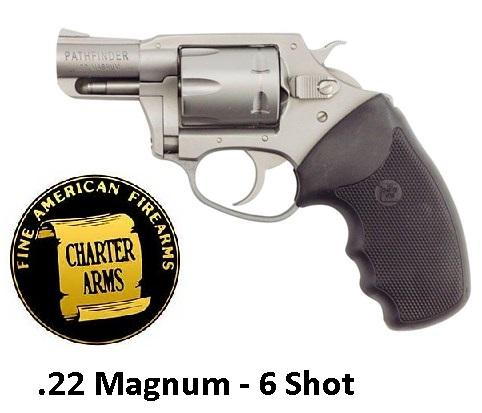 "Charter Arms Pathfinder 22 Magnum 2"" 6rd Black Rubber Grip Stainless"