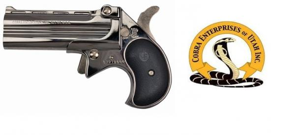 Cobra Long Bore 9mm 3.5 Inch Barrel Chrome Finish Black Grips 2 Rounds