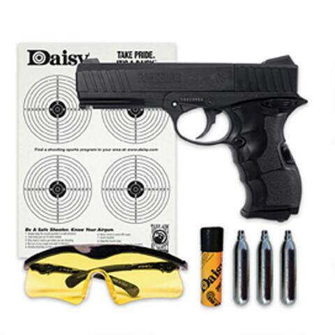 Daisy, Powerline 408 Air Pistol Kit,  177 Pellet or BB, Black Finish,  Plastic Grip, CO2, Semi-automatic, 8 Shot, 485 Feet Per Second, Kit  Includes CO2