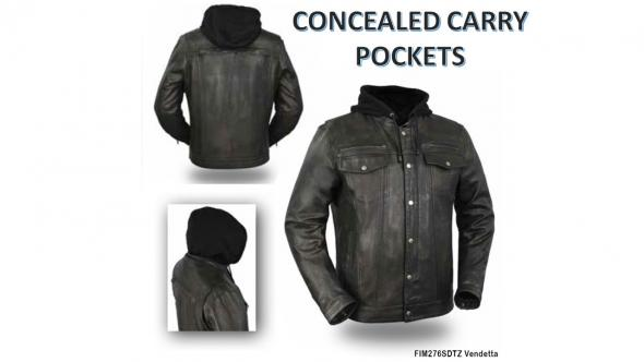 5e3a36c0e First Mfg Vendetta Men's CCW Leather Jacket w/Zip-Out Hoodie Black Med