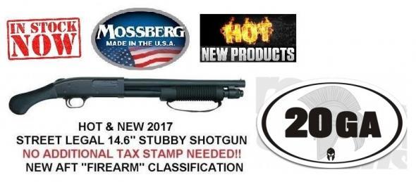 20 GA Mossberg 590, Shockwave, 20 Gauge, 3 Inch Chamber, 14 Inch Heavy Walled Barrel, Shockwave Raptor Pistol Grip, Front Bead Sight, Matte Blue Finish, 5 Round