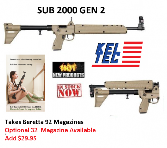 KEL SUB-2000 TAN COLOR Beretta A92 9mm 16.1 Inch Barrel