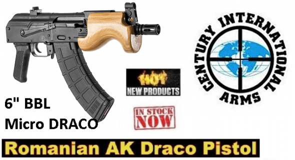 "Century Micro Draco AK Pistol, Semi-automatic, 762X39, 6"" Barrel, Steel Frame, Black Finish, Polymer Grips, Comes with 1-10Rd and 1-30Rd magazine, Removable Flash Hider, Wood Hand Guard"