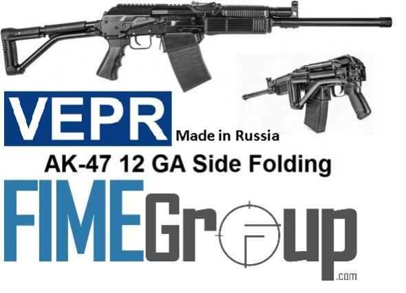 "FIME Molot Russian VEPR Semi-Automatic 12ga 19"" 3"" 5+1 Left Folding w/Pistol Grip Metal Blk"