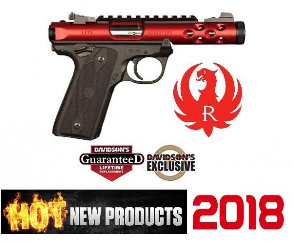 "Ruger Mark IV (Diablo Red) 22 Long Rifle (LR) 4.4"" 10+1 Black Polymer Grip Red Anodized"