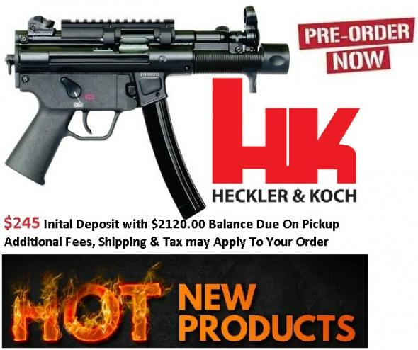 $245 INITAL DEPOSIT: H&K hk SP5K Package (MP5 / SP89 Type) 9mm 4.53 Inch Barrel Front Diopter Sight Picatinny Top Rail Bungee Sling 30 Round