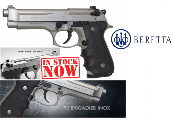 "Beretta, 92FS Brigadier Inox, Semi-automatic Pistol, 9MM, 4.9"" Barrel, Alloy Frame, 3 Dot Sights, 15Rd, Ambidextrous Safety, Stainless Finish"