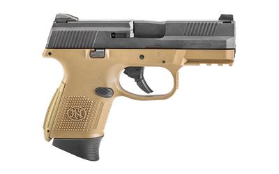 "FN America, FNS-9 Compact, Striker Fired, Semi-automatic, Compact Pistol, 9mm, 3.6"" Barrel, Polymer Frame,FDE/Black Finish, Fixed 3-Dot Sights, Non-Manual Safety, 1-12Rd & 1-17Rd, Fired Case"