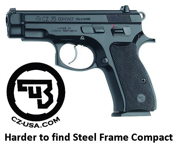 Harder to Find!!! CZ 75 Steel Frame Compact 9mm Luger 3.7 Inch Barrel Black Polycoat Finish 14 Round 💲💲Cash $619.95💲💲