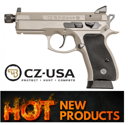 "CZ 75 P-01 Omega Suppressor Ready Compact, 9MM, 3.7"" Cold Hammer Forged Threaded Barrel, Alloy Frame, Urban Grey Finish, Night Sights, Swappable Safety/Decocker, 14 Rounds"