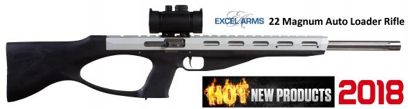 "Excel MR-22 .22 Winchester Magnum 18"" bull barrel Silver shroud Black stock Red Dot Optic Two 9 roun"