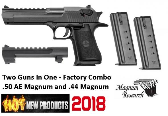 MGM Desert Eagle Mark XIX Combo .50AE/.44 Magnum 6 Inch Barrel Black Oxide Finish Combat Fixed Sight Black Textured Grip 7 Round .50AE Magazine and 8 Round .44 Magnum Magazine