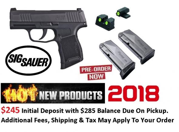 """2018 SIG P365 9MM 3"""" 10RD with Night Sights #365-9-BSS"""