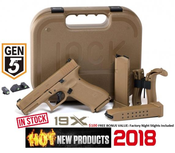 "Glock, 19X, Safe Action, Compact Size Pistol, 9MM, 4.01"" Marksman Barrel, Coyote Polymer Frame, Coyote Slide, Coyote Magazines, Coyote Box, 2-19Rd"