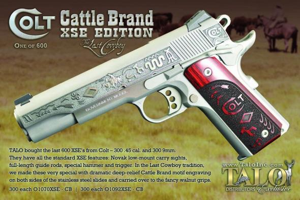 "Colt 1911 XSE Gov't ""The Last Cowboy"" Cattle Brand TALO Edition 9MM  1 of 300"