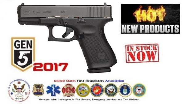 LAW Glock Gen5 Glock 19 9mm 4.02 Inch Barrel Black Armor Coating Fixed Sights Rough Textured Frame 5.5 Pound Trigger 15 Round