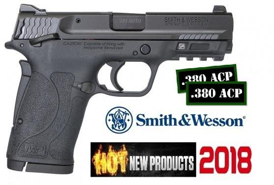 HOT 2018!! S&W M&P Shield EZ .380 ACP 3.6 Inch Barrel Black Finish Polymer Frame White Dot Front Sight Adjustable White Dot Rear Sight Manual Thumb Safety 8 Round