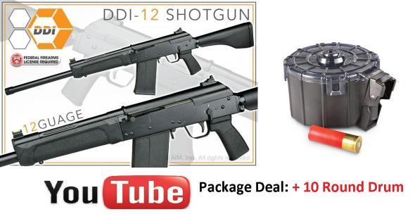 "Bonus DRUM + SDS AK-17 Type 12GA Cheetah 3"" Chamber 19"" Barrel 5 Round Detachable Box Magazine SAIGA Magazine Compatible Polymer Furniture Matte Black"