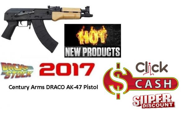 "Century US Draco AK-47 Pistol, 762X39, 10.5"" Barrel, Steel Frame, Black Finish, 30Rd, 1 Magazine Included"