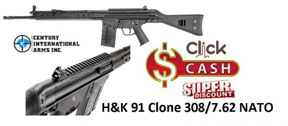 "Century C308 H&LK G3/91 Clone Semi Auto Rifle .308 Win./7.62x51mm NATO 18"" Barrel 20 Rounds Polymer Furniture Black Finish RI2253-X CETME"