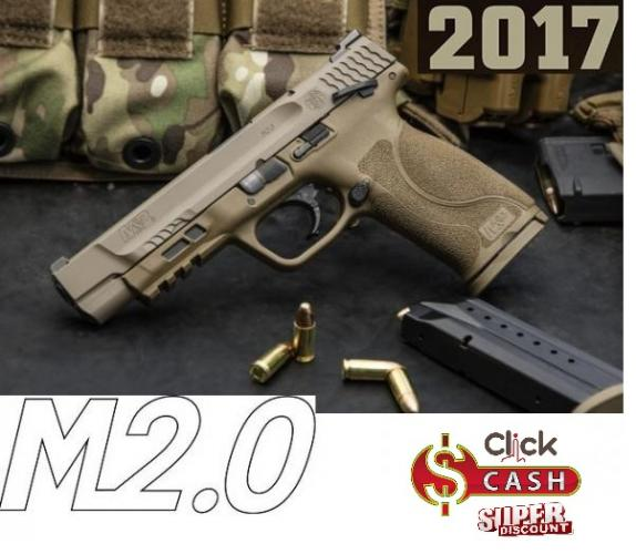 S&W M&P9 M2.0 Striker Fire 9mm 5 Inch Barrel Flat Dark Earth Finish White Dot Sights Polymer Frame/Grips Ambidextrous Safety 17 Round