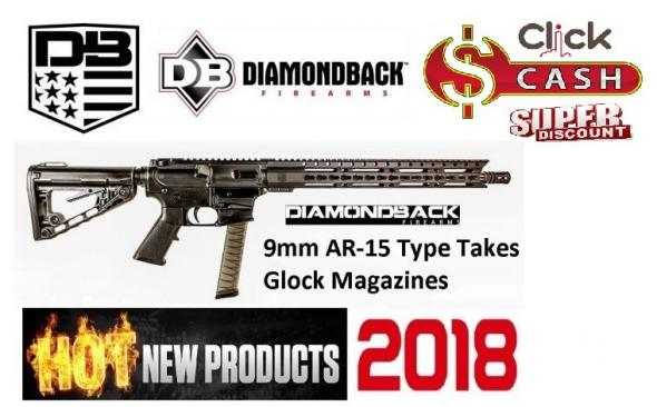 Diamondback DBF DB9RB 9mm 16 Inch Barrel Melonite Finish 9 Inch KeyMod Handguard With Top Rail Roger's Adjustable Stock 33 Round